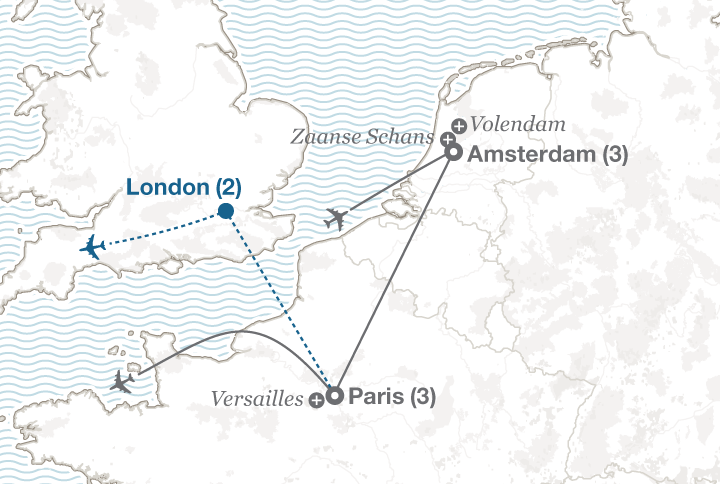 Amsterdam and Paris tour map
