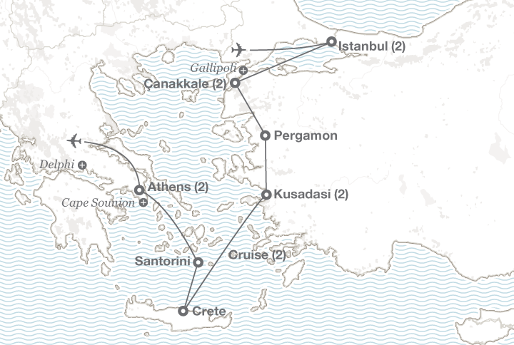Turkey and Greece tour map