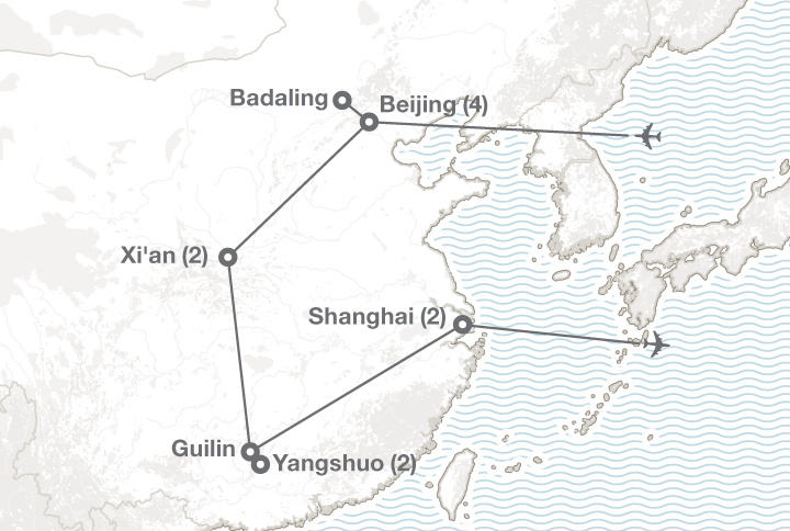 Discover China tour map