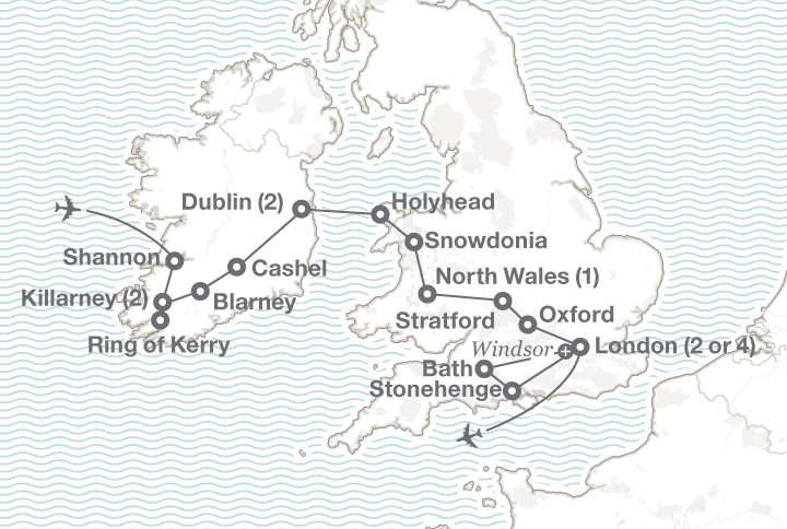 The British Isles England Ireland and Wales tour map