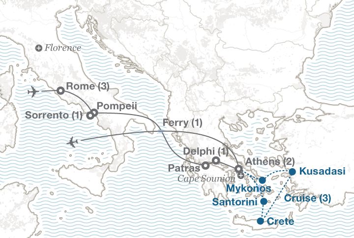 Italy and Greece tour map