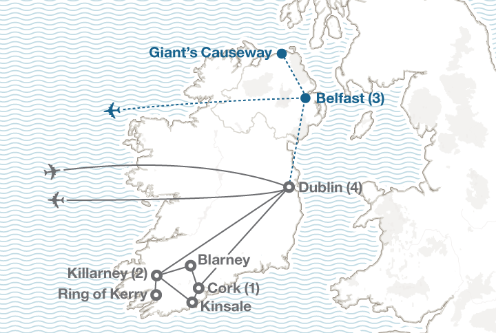 Irish Heritage tour map