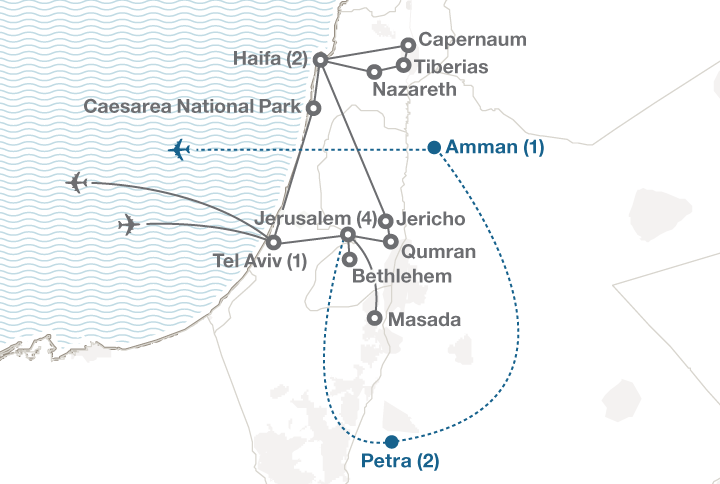 Israel tour map