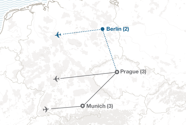Munich and Prague tour map