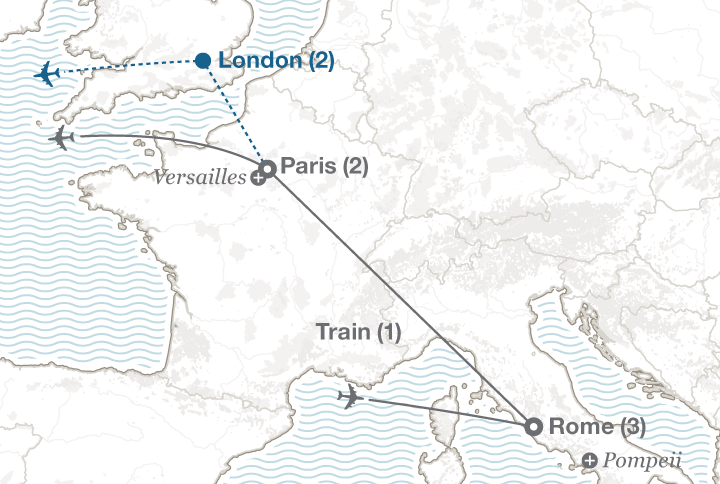 Rome and Paris tour map