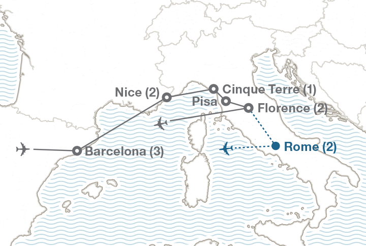 South Of France And Italy Map.Barcelona Southern France Italy Ef College Study Tours