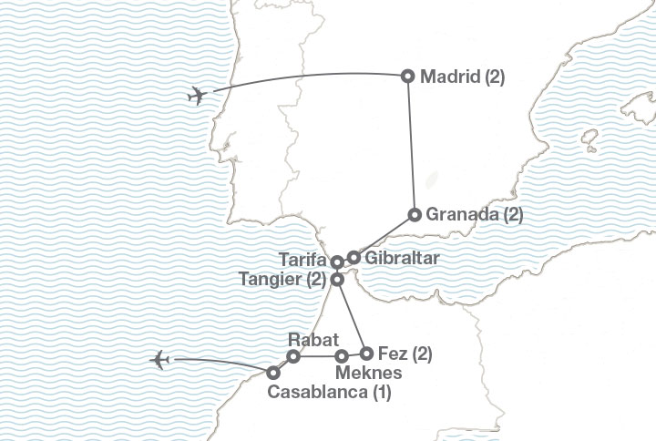 Map Of Spain Gibraltar And Morocco.Spain Morocco Ef College Study Tours