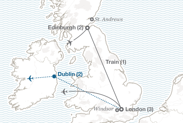 Edinburgh and London tour map