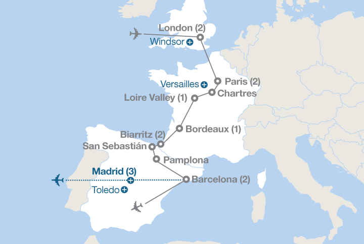 Map Of England France And Spain.England France And Spain Ef Educational Tours Canada