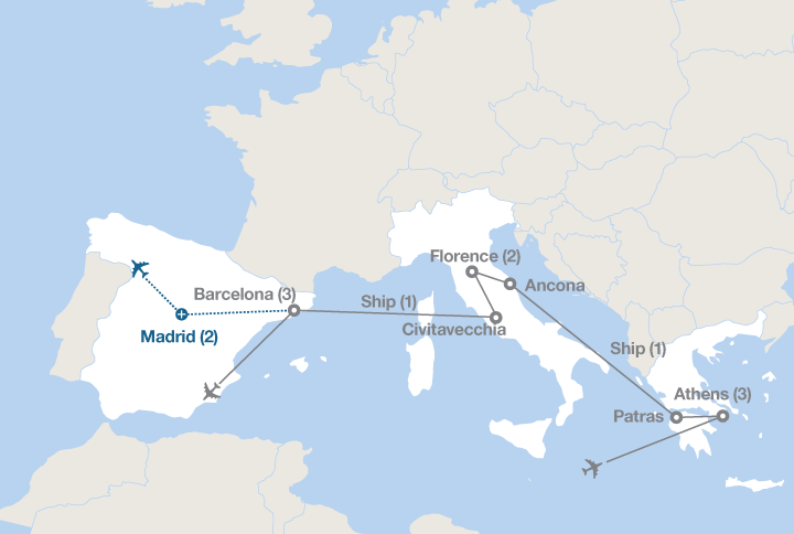 Map Of Spain And Greece.Greece Italy And Spain Ef Educational Tours Canada