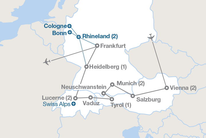Map Of Germany And Switzerland.Austria Germany Switzerland Ef Educational Tours Canada