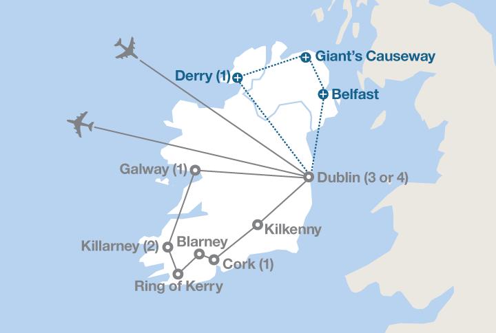 Blarney Ireland Map.The Emerald Isle Ef Educational Tours