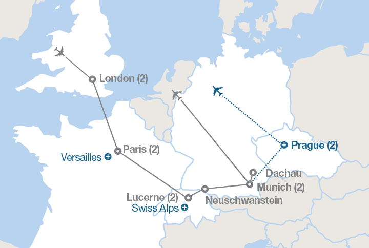 Map Of Germany France And Switzerland.London Paris And The Alps Ef Educational Tours